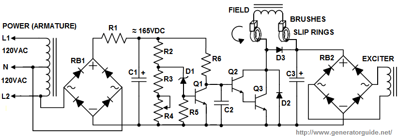 generator wiring diagram 3 phase ceiling fan one switch automatic voltage regulator avr for generators schematic