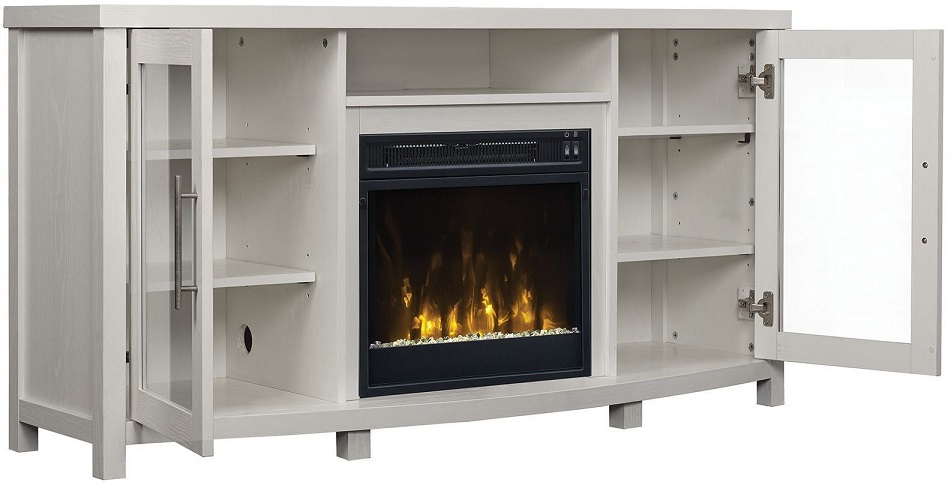 "Infrared Fireplace Inserts 54"" Rossville White Tv Entertainment Media Stand W"