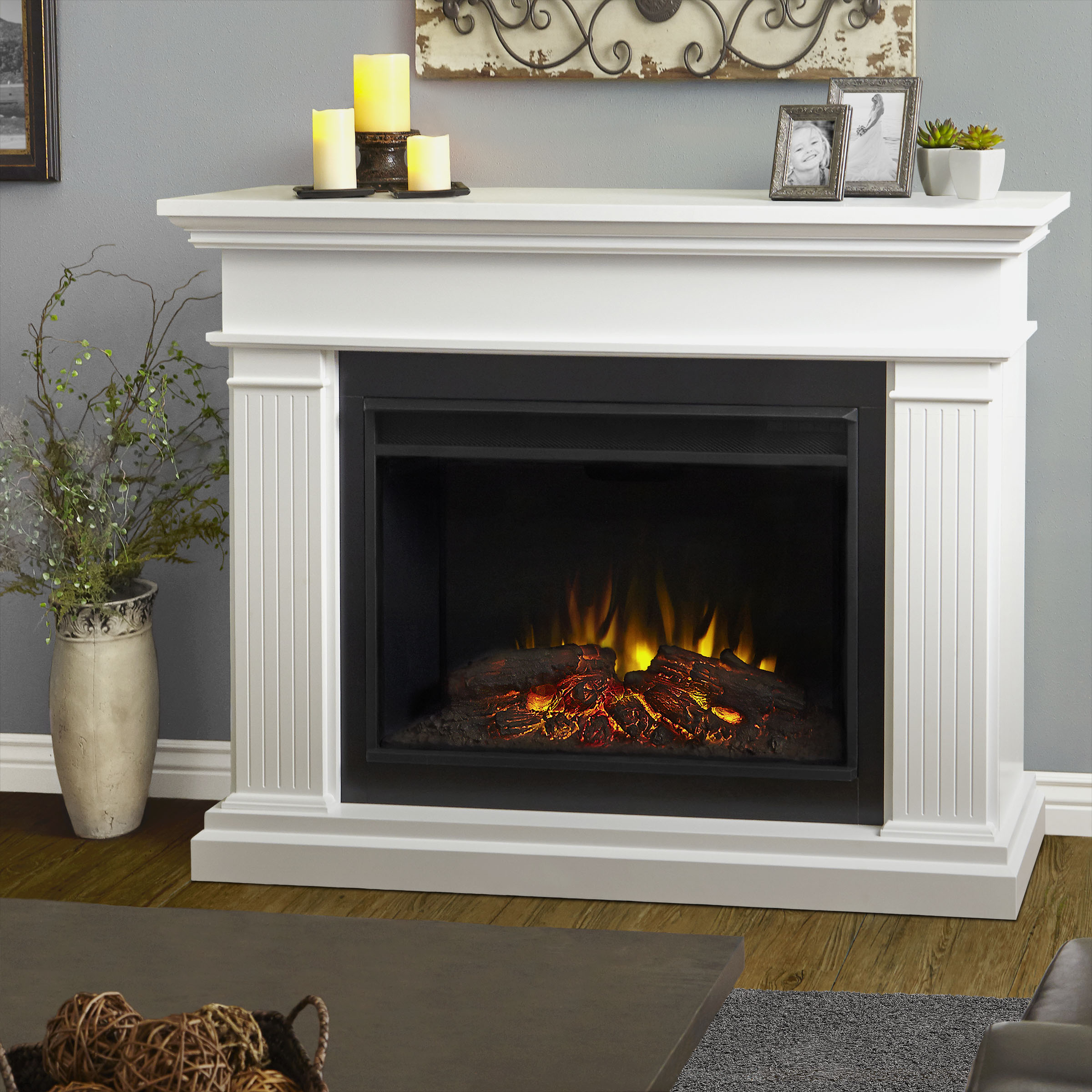 """55.5"""" Kennedy Grand White Electric Fireplace"""