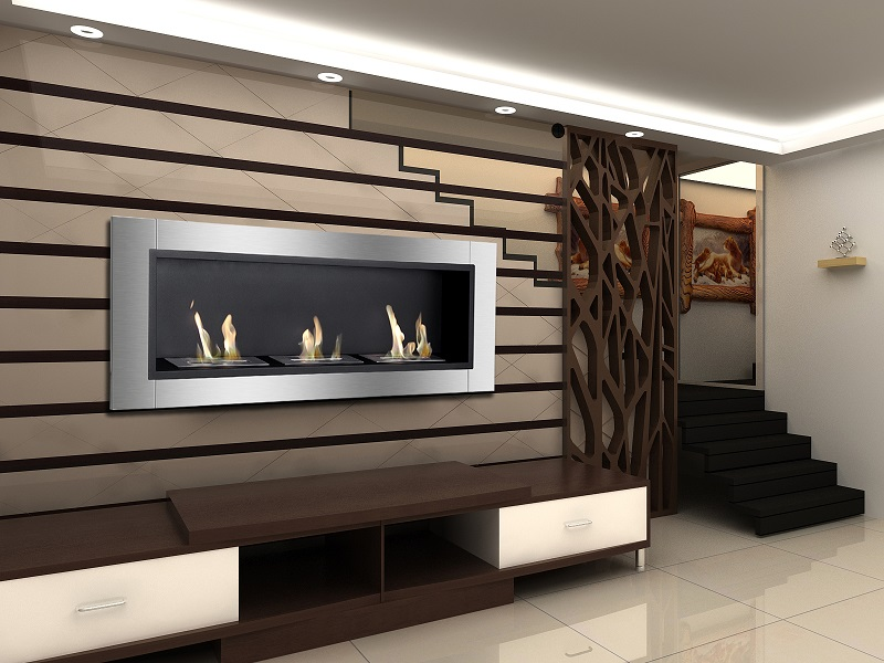 "Modern Wall Mount Gas Fireplace 55"" Ignis Ardella Wall Mounted / Recessed Ventless Ethanol"