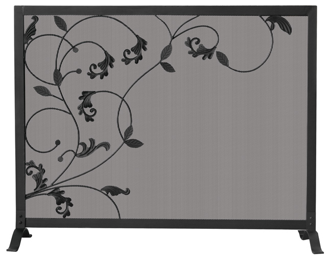 39'' Single Panel Black Wrought Iron Fireplace Screen With