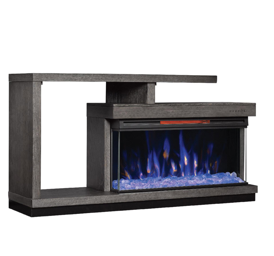 "Infrared Fireplace Inserts 60"" Wright Panorama Cambridge Oak Crystal Bed Tv Stand"