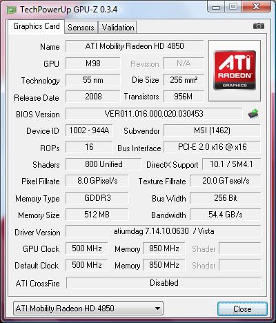 ATI Mobility Radeon HD 4850 vu par GPU-Z
