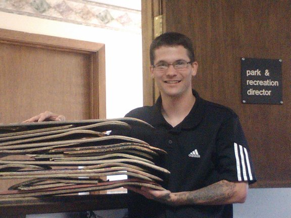 President Kyle Little Picking up more decks to recycle