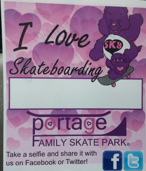 $5.00 Donation Tag, Post a Selfie on facebook.com/portageskatepark or twitter.com/portagesk8park print and even make your donation via paypal @ http://portageskatepark.org/donations/