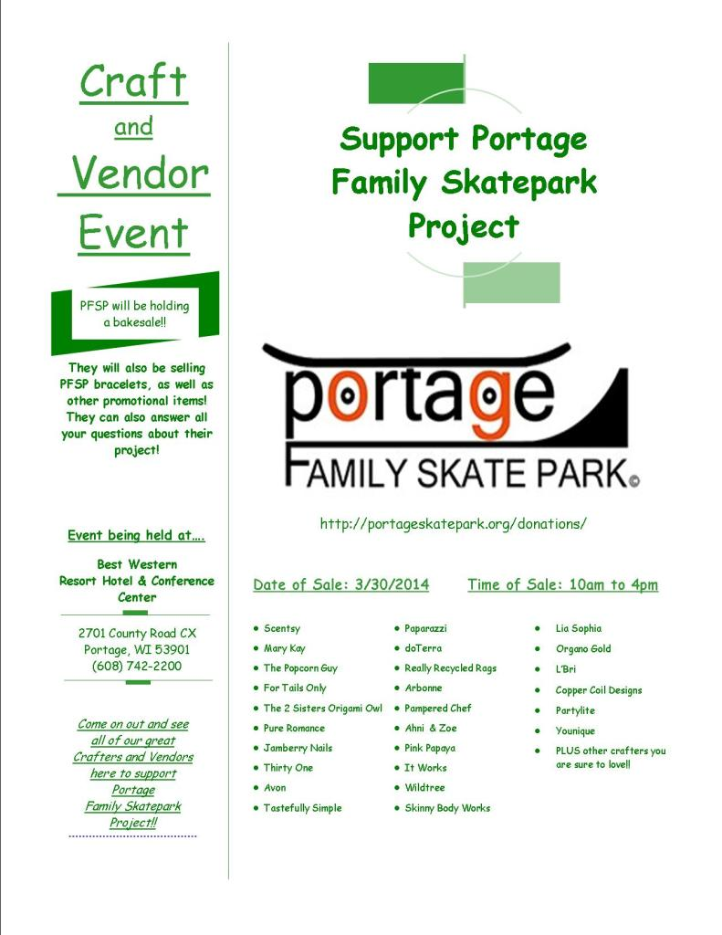 Vendor-Craft event to Benefit the Portage Family Skate Park Project
