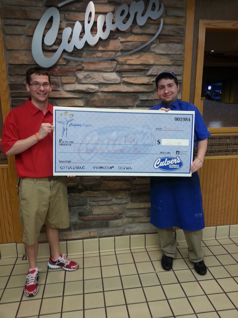 Kyle Little President of the PFSP received a check from Jordan Wright Assistant Manager Culver's Portage for $261.54