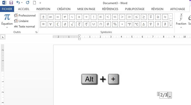 écrire Des Fractions Dans Word Portaileduc