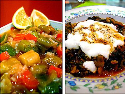 zeytinyağlı pırasa & yoğurtlu ıspanak
