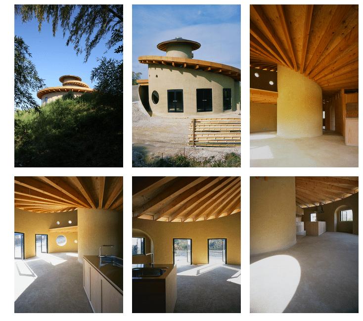 Casa ecológica en espiral construida con madera, tierra y techo verde. -  Portal Ambiental