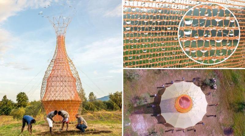 , La torre de bambú que recolecta agua potable del aire