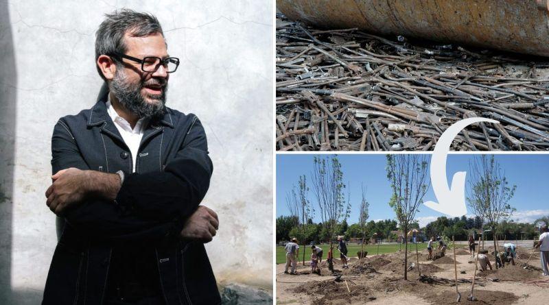 , Artista convierte 1.527 armas en palas para plantar árboles