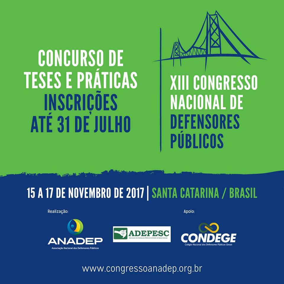 XIII CONADEP: Prazo para inscrição de teses e de práticas exitosas vai até 31/7