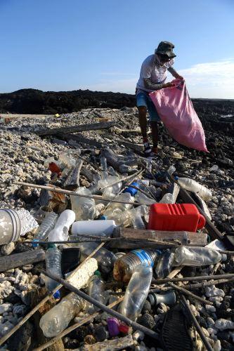 Voluntario recoge basura en Galápagos