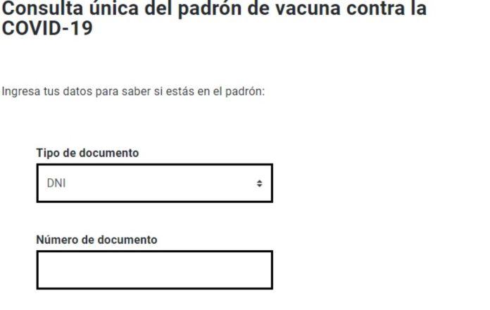 Primer paso: Seleccione el tipo de documento que posee y rellene el segundo recuadro con el número de dicho documento.