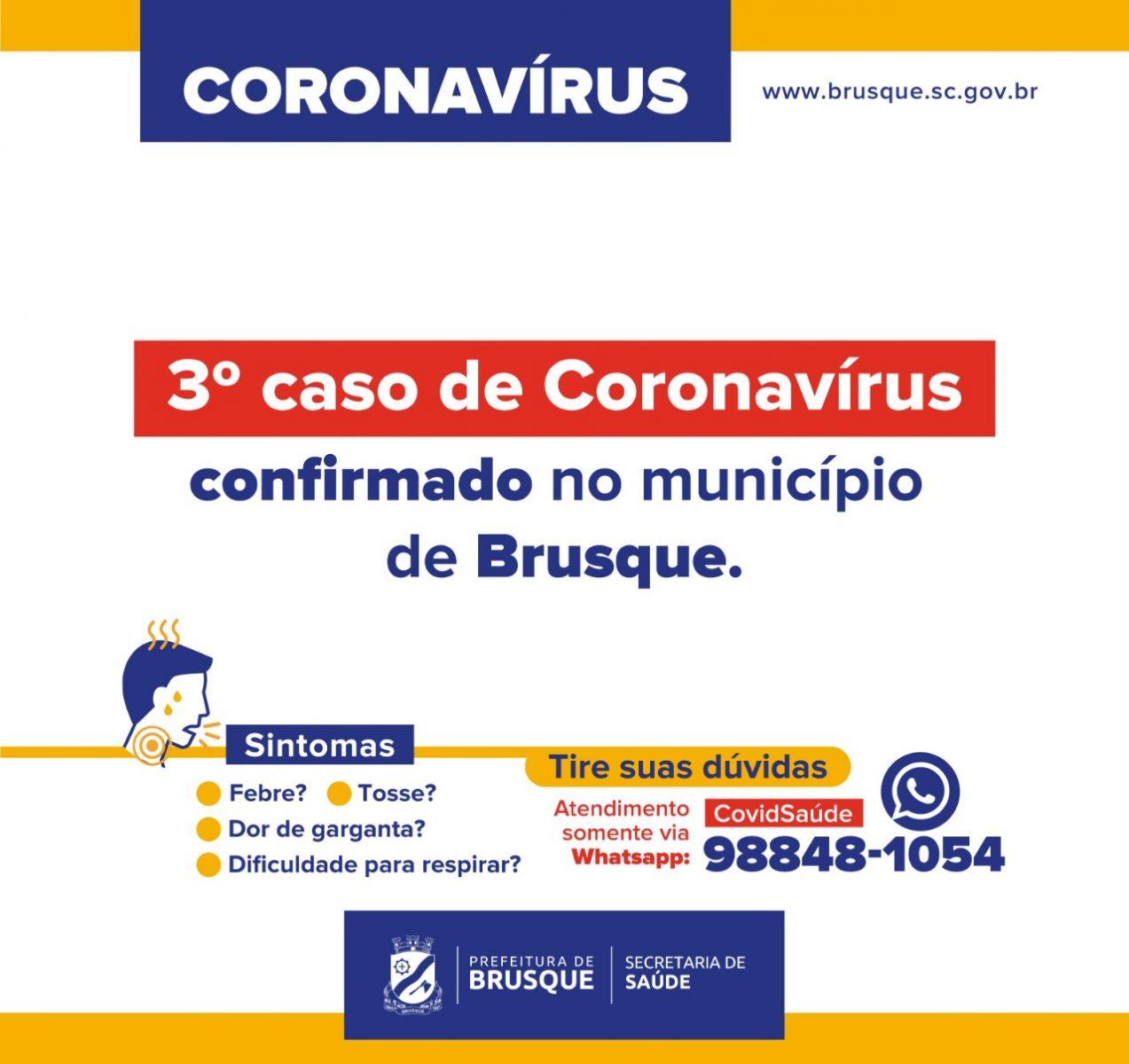 Terceiro caso de coronavírus é confirmado em Brusque