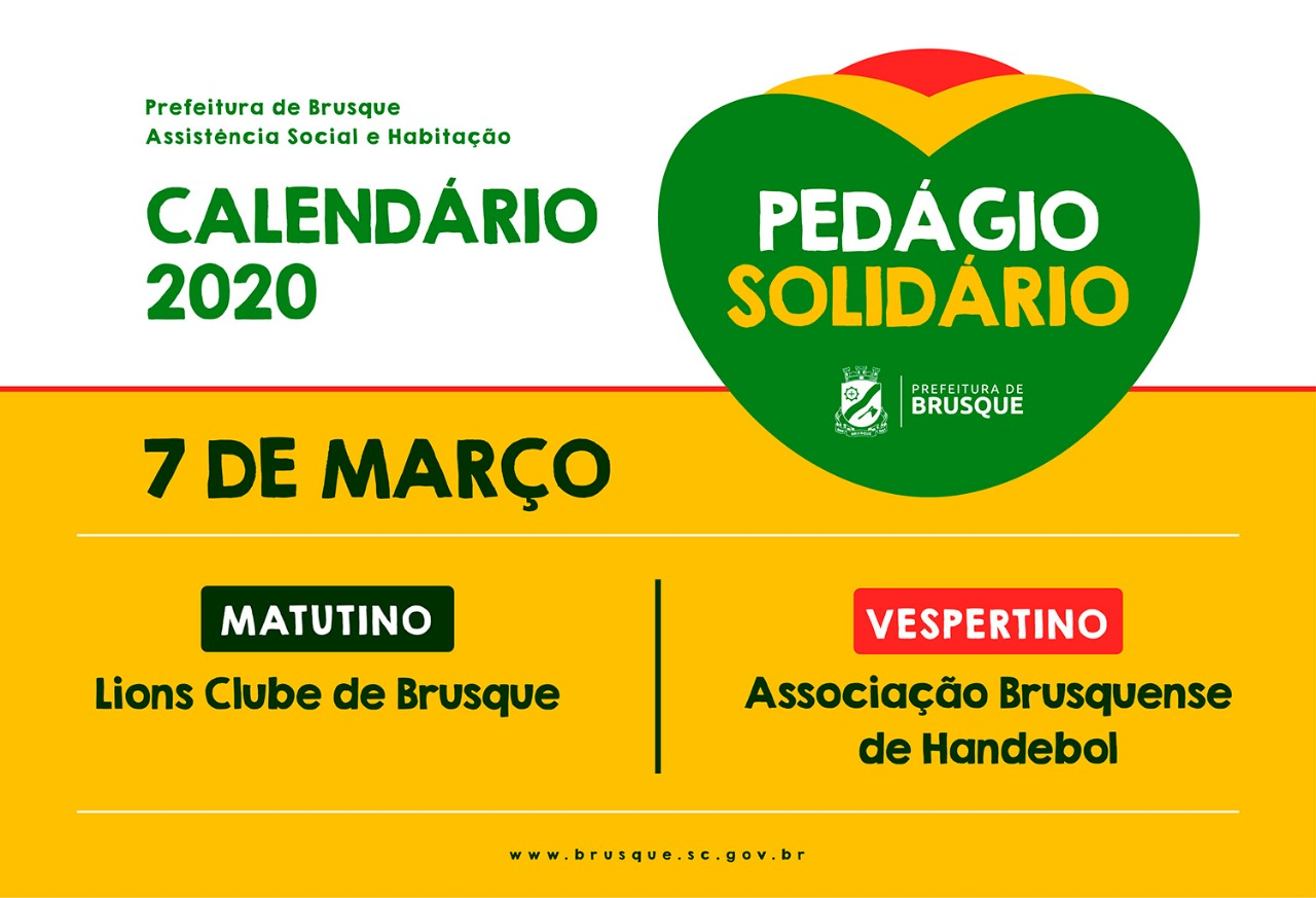 Sábado (07) tem pedágio solidário em Brusque