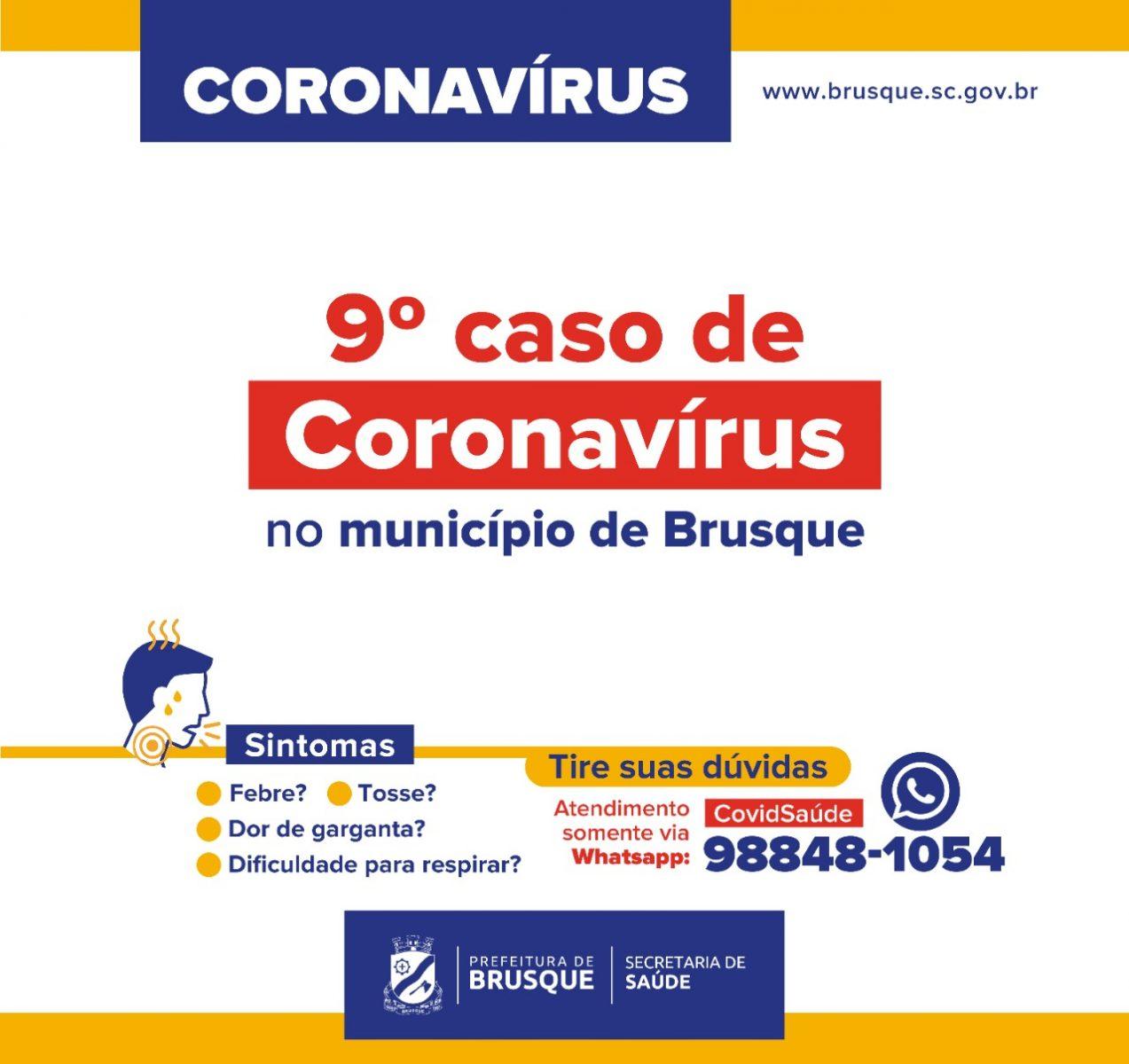 Sobe para nove os pacientes com coronavírus em Brusque