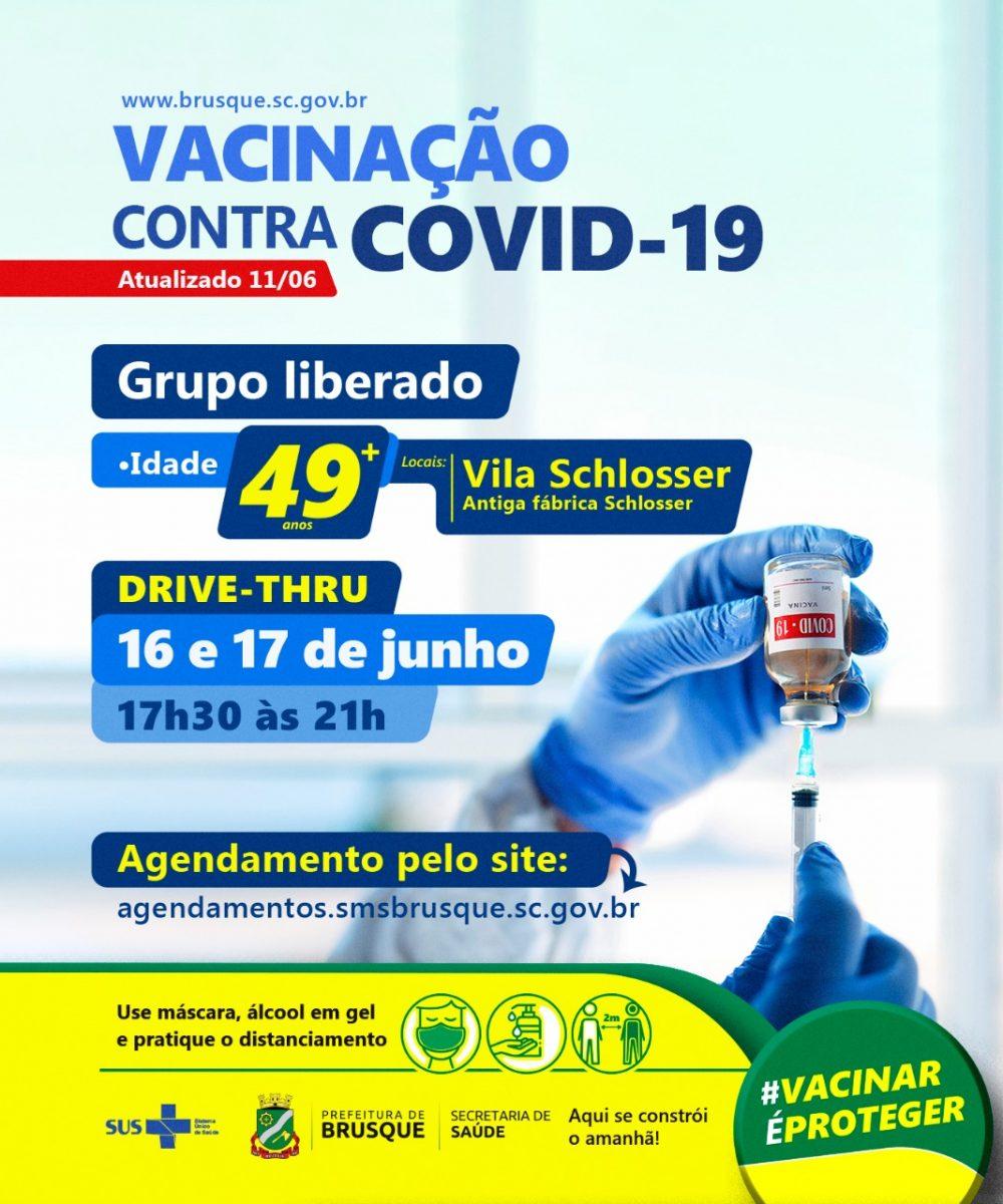 Covid-19: Aberto agendamento para vacinação de pessoas com 49 anos ou mais
