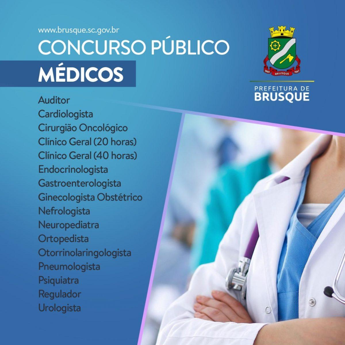 Prefeitura de Brusque abre concurso para médicos
