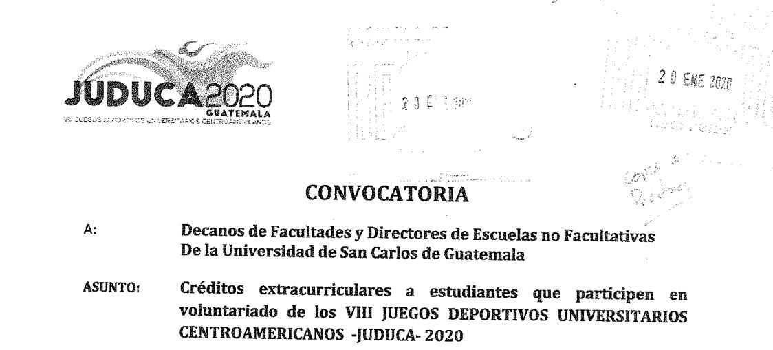 Créditos extracurriculares a estudiantes que participen en voluntariado de los VIII JUEGOS DEPORTIVOS UNIVERSITARIOS – JUDUCA – 2020