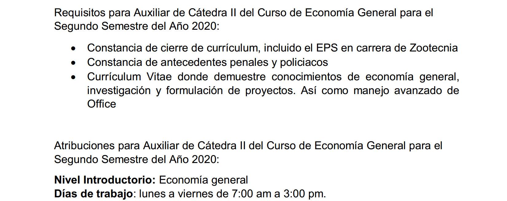 Convocatorio para Auxiliar de Cátedra II del Curso de Economía General para el Segundo Semestre del Año 2020