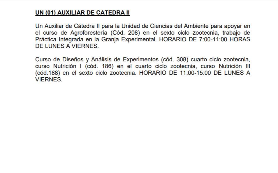 Convocatoria para contratación de Auxiliar de Cátedra II para las Unidades de Ciencias del Ambiente y Alimentación