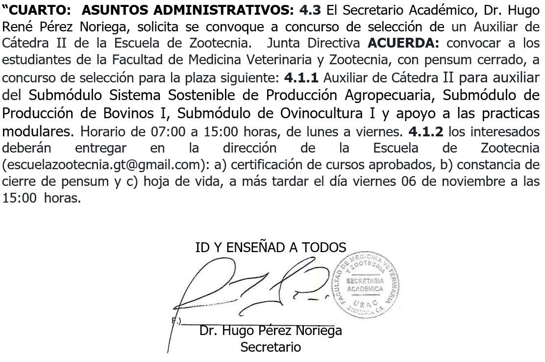 Convocatoria – Auxiliar de Cátedra II – Escuela de Zootecnia