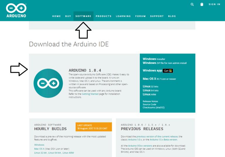 Site Arduino.cc - baixando a IDE Arduino