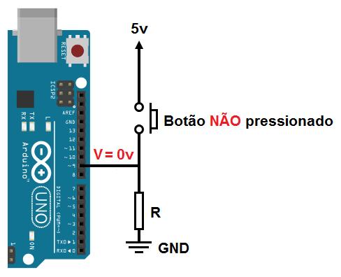 Botão com Pull-down no Arduino Uno
