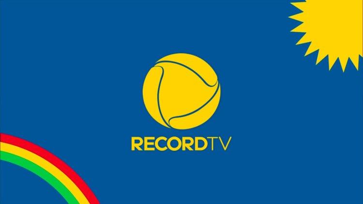 Logo da Record TV na arte de divulgação da afiliada em Pernambuco