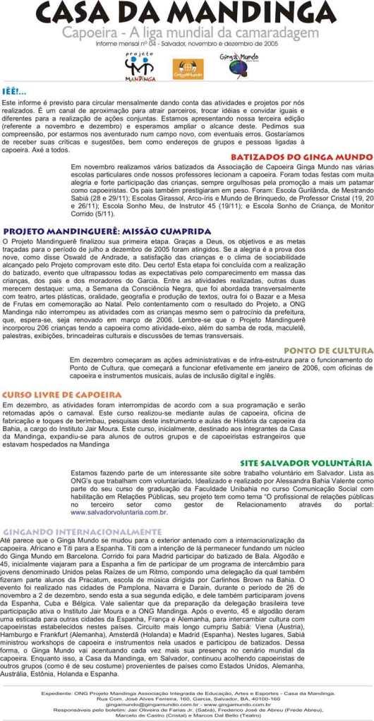 Portal Capoeira Boletim Cada da Mandinga Notícias - Atualidades