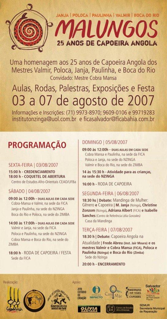 Portal Capoeira Malungos: 25 anos de Capoeira Angola Eventos - Agenda