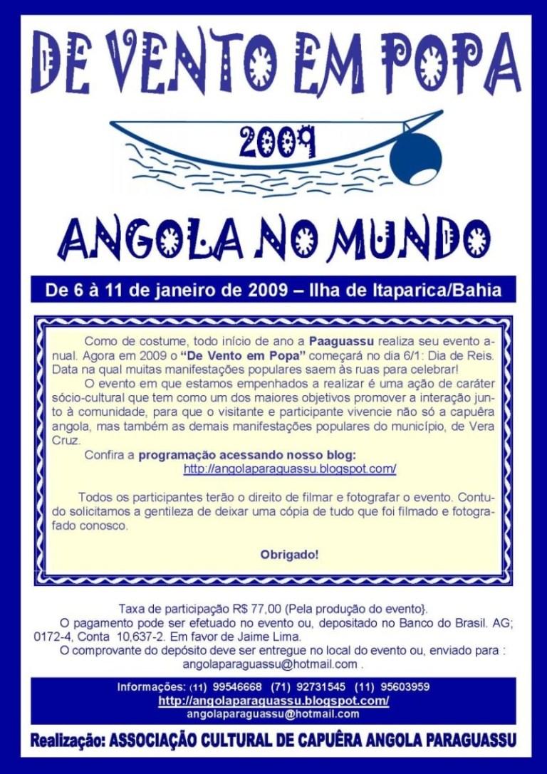 """Portal Capoeira DE VENTO EM POPA 2009 """"Angola no Mundo"""" Eventos - Agenda"""