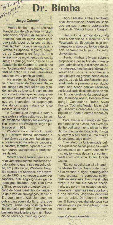 Portal Capoeira Dr. Bimba... Curiosidades