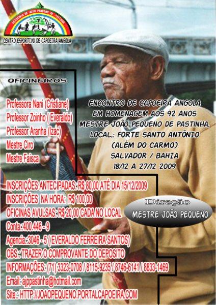 Portal Capoeira Encontro em homenagem aos 92 anos do Mestre JOÃO PEQUENO de PASTINHA Eventos - Agenda