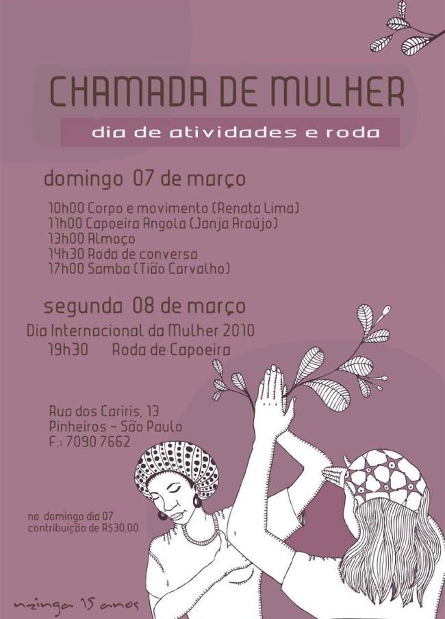 Portal Capoeira Nzinga: Chamada de Mulher Eventos - Agenda
