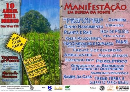 Portal Capoeira São Paulo: ManiFestAção em Defesa da Fonte no Morro do Querosene Cultura e Cidadania