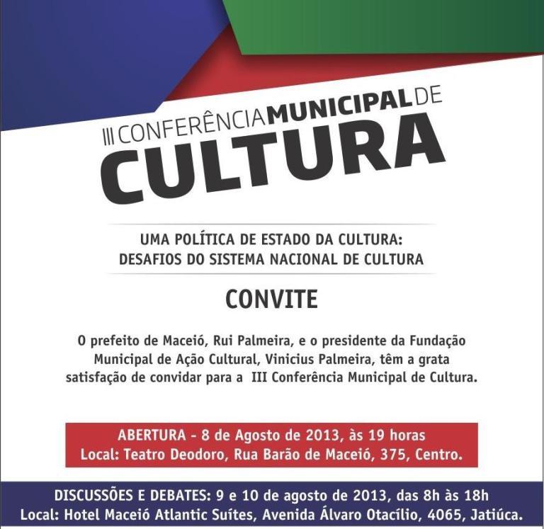 Portal Capoeira Maceió: III Conferência de cultura Cultura e Cidadania