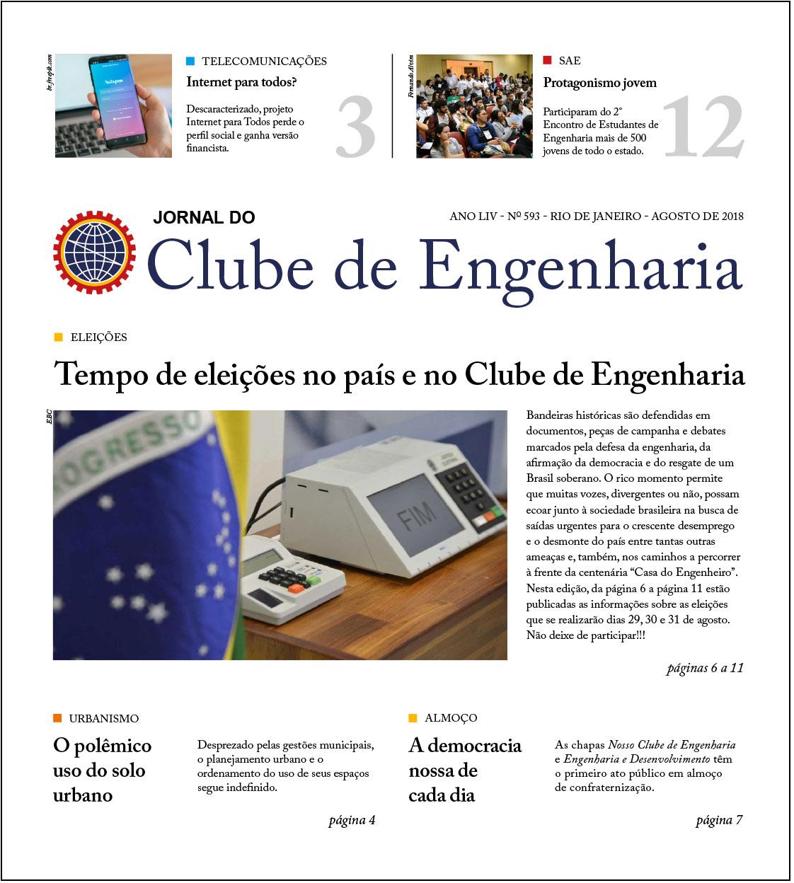 Capa jornal Clube de Engenharia 593 de agosto de 2018