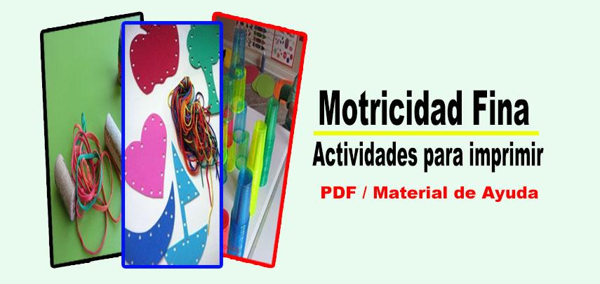 Motricidad Fina: Actividades para imprimir