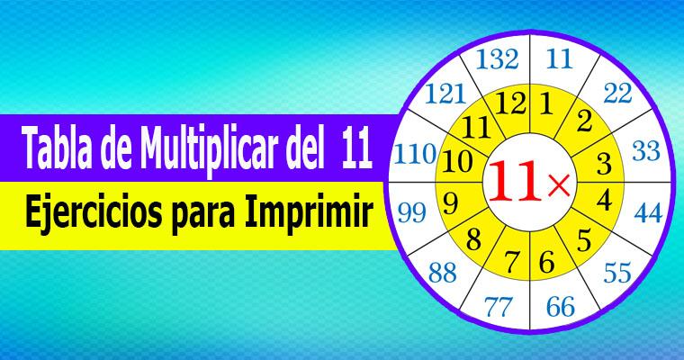 Tabla de Multiplicar del 11 ( Ejercicios para Imprimir )