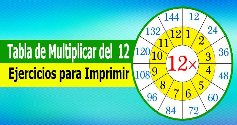 Tabla de Multiplicar del 12 ( Ejercicios para Imprimir )