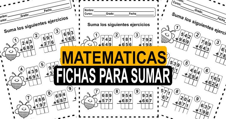Fichas Gratis para Sumar ( Imprimir PDF )
