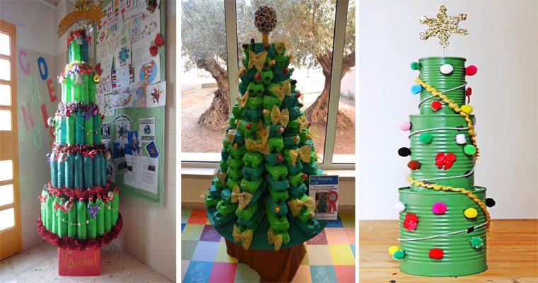 Árboles de Navidad Reciclados ( Botellas – Cartón )