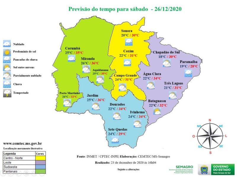 Sábado de tempo firme e bastante calor em algumas áreas de Mato Grosso do Sul