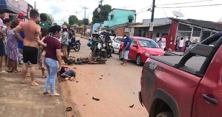 Empresário persegue e atropela assaltantes em Rondônia; Imagens fortes