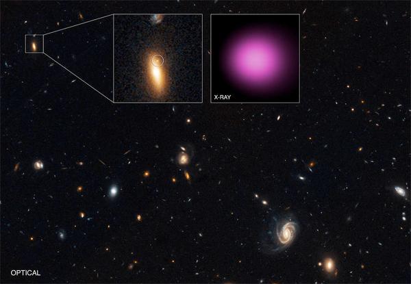 Galáxia GJ1417+52 e buraco negro errante XJ1417+52