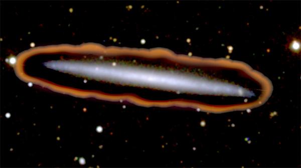 A galáxia UGC 7321 rodeada por hidrogénio.