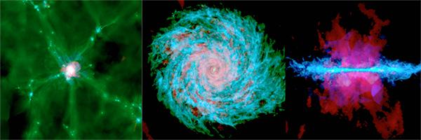 Imagens de simulação da Via Láctea.
